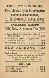 Advert for the Little Wonder Tea, Grocery & Provision Stores